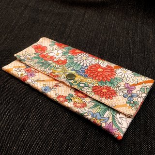 ❖ hand-made Japanese-style purse handmade limited customization - Japan Zuxiang orange raw silk long clip wallet ❖