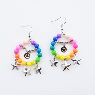 Rainbow bead hoop earrings with smiley and star charm