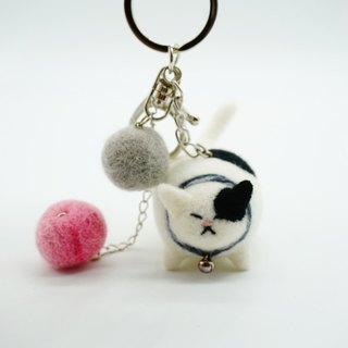 MoonMade 手工羊毛氈花斑貓鑰匙圈 3D貓咪動物鑰匙扣 生日禮物 Needle Felting Calico Cat Keychain Keyring Birthday Gift for Cat Lover