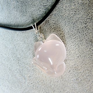 """Meng Meng Fox"" America hexagram light rose quartz necklace fox small group"