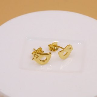 Handmade Little Bird Earring - 18K gold plated on brass, Tiny Earring