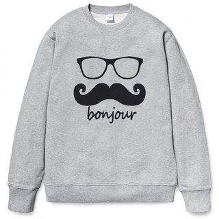 Bonjour University T bristle gray French beard beard retro glasses arts youth design original brand fashion