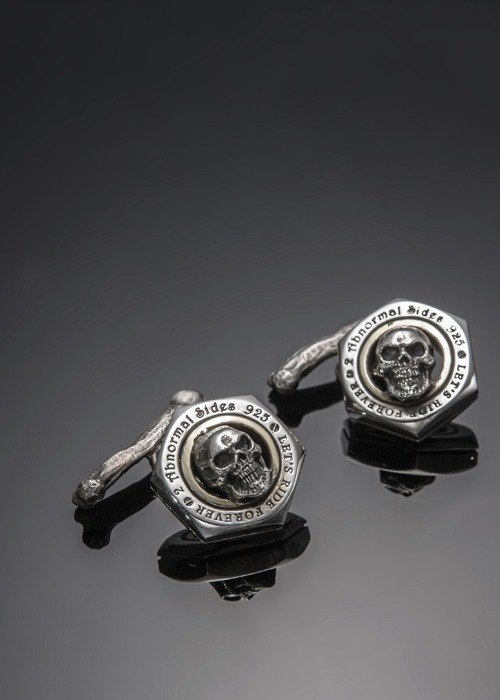 Let's Ride Collection Nut Cufflink with skull and bone | Skull Cufflinks nut (bone Edition)