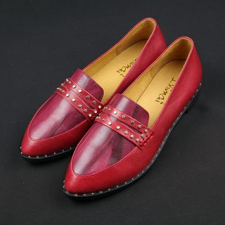 Impressionist rivets loafers - Jazz Red