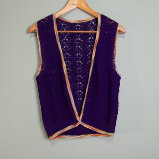 FOAK vintage purple rainbow edging crocheted vest
