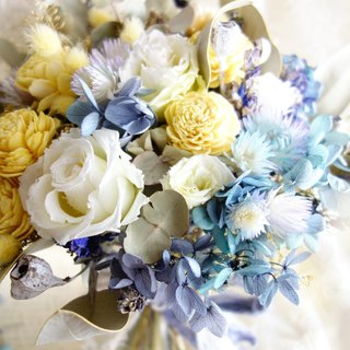Wedding floral series ~ fresh lemon yellow and sea blue bouquet
