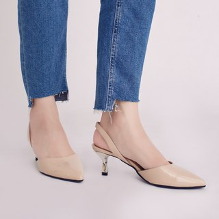 Hepburn Kitten! After the hollow retro small pointed shoes nude skin inside and outside full leather MIT pre-ordered goods