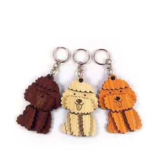 Wood Carving Key Ring - Poodle Dog