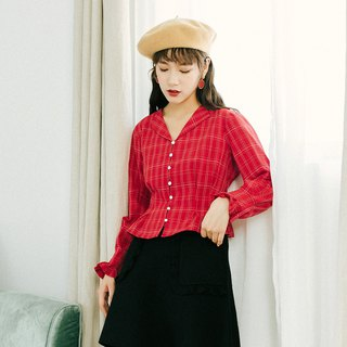 2018 autumn women's new product contrast color buckle waist plaid shirt solid color