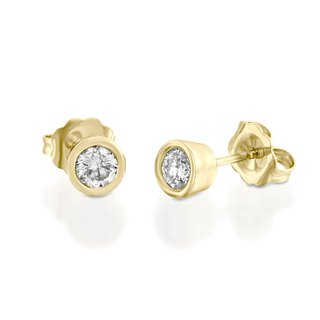 【Purplemay Custom-made Order - Kate 】18k Yellow Gold Single Diamond Earring