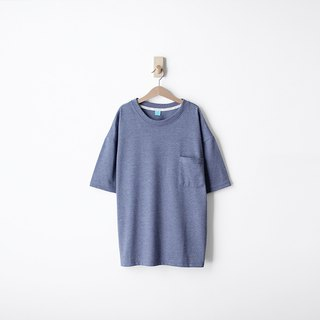 Loose Drop Shoulder Edition Plain Twisted Blue Pocket Tee - Size