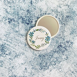 Mstandforc Blue Pocket Mirror with bag | Florals with gold foil service