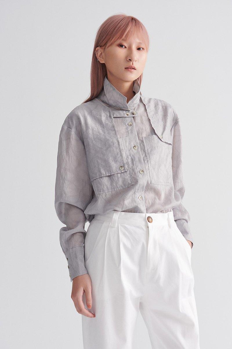 Shan Yong 風衣造型落肩長袖襯衫(共兩色)