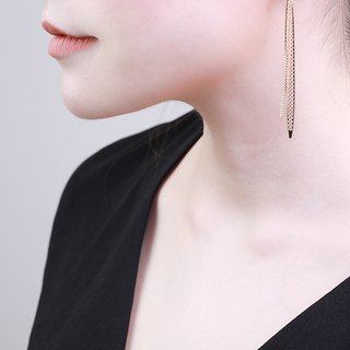 Bolo Vertical Gold Earrings