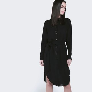 Soft touch chic black shirt dress
