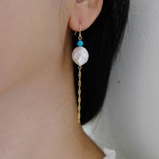Baroque round pearl pearl long earrings │14K natural pearl can change the clip Christmas gift