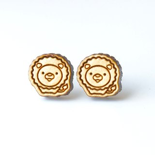 Plain wood earrings-Lion