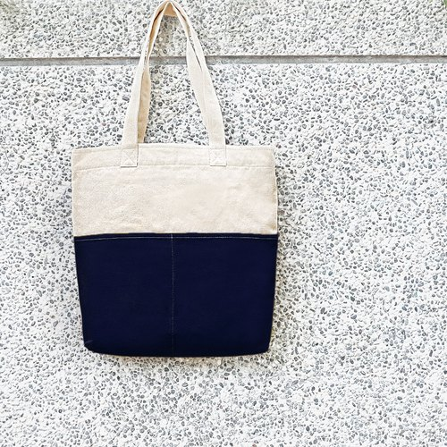 Thick canvas color double pockets big bag (shoulder bag / handbag) - dark blue