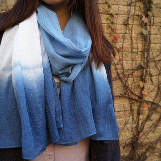Blue Stained Cotton Scarf. Shawl | Forest Elf