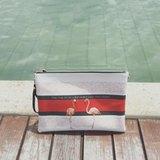 高貴優雅紅鶴雙面印花手拿包手袋 Elegant Flamingo Clutch Handbag by Shuki Design