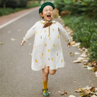 Akita impression girl yellow printed lapel long-sleeved dress Japan imported pure cotton loose design