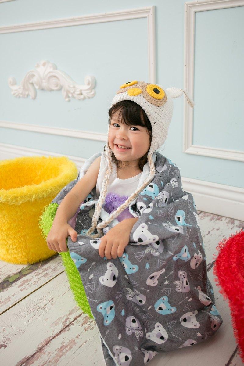 Minky多功能 點點顆粒 攜帶毯嬰兒毯冷氣毯被 藍色-印第安熊