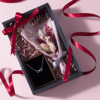 Romantic Red Small Flower Sterling Silver Necklace Gift Box