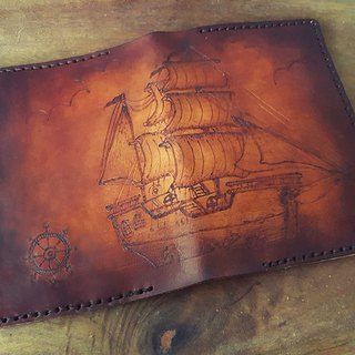 Custom ancient sailing vintage leather passport holder (made lover, birthday gifts)