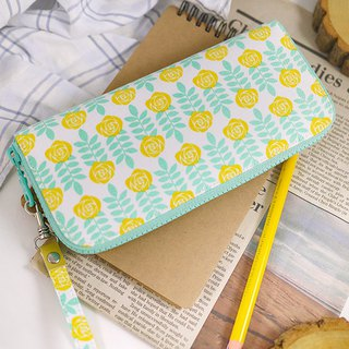 Summer mint blue. Yellow rose. Cloth clip / long clip / wallet / wallet / purse
