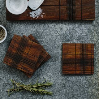 British Selbrae House Indian oil wood plaid coaster / table mat / display tray (set of four)