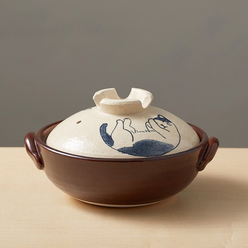 有種創意-日本萬古燒-手繪土鍋8號-貓咪打呼(2.1L)