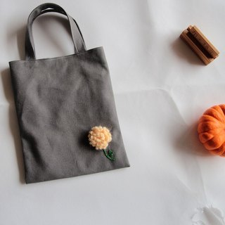 Cotton Fabric: Canvas  bag,Knitting flower,deep Gray