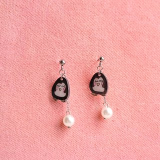 Winter series-  Penguin - Hand Drawn - earrings