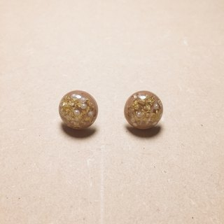 Vintage Khaki Gold Foil Pearl Ball Earrings