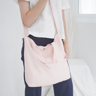 Casual 2 Ways Linen Tote Bag (Soft Pink)