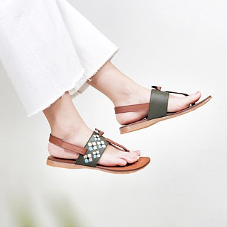 One tile - leather embroidery pinch sandals - moss (new product)