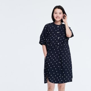 Kurta Short Sleeves Print  Midi Dress Navy
