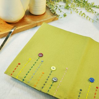 Hand-made book clothing notebook [rain song] green tea canvas section (Big Ben = A5)