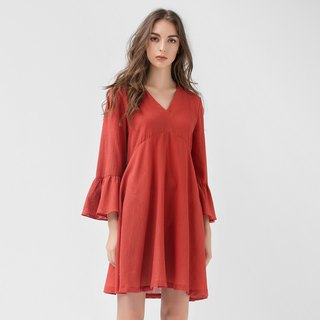 VACAE V-neck Fleece Cuff Umbrella Dress