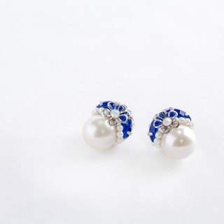 12mm1 grain Pearl & Bijou of elegant earrings (earrings) blue
