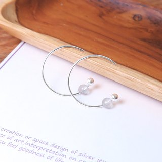Grey Moonstone Crescent Crescent (Small) - 925 Sterling Silver Natural Stone Ear Pin