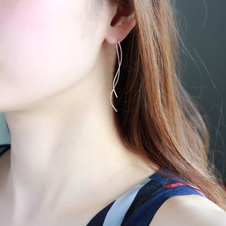 14kgf-Rose gold filled nuance curve pierced earrings