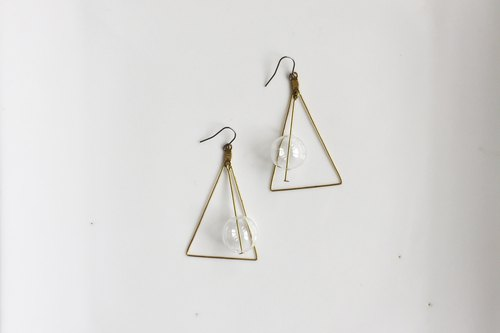 Pink Floyd Large Triangle Geometric Glass Ball Brass Earrings