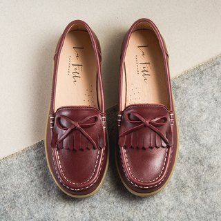 Leather tassel bow loafers _ classical red
