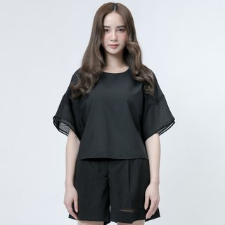 Black Yarn Cuff Top Double Sheer Layer Sleeves Top