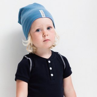 [Nordic children's clothing] Swedish organic cotton striped hat blue / sea blue