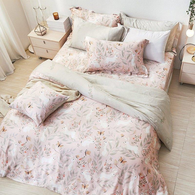 床包兩用被套組-單人/60支/ 萊塞爾天絲三件式 / 雪兔戀語 台灣製