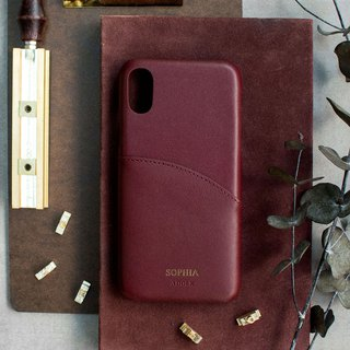 Can be lettering iPhone X 5.8 吋 leather anti-splash phone case - wine red