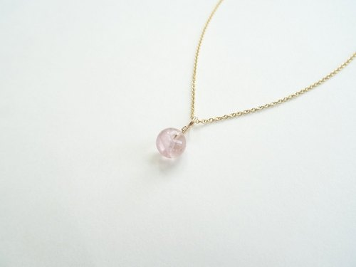 ::Daily Jewels:: Tourmaline Disc Candy Pendant Dainty 14K GF Necklace ◆ Cherry Blossom Pink