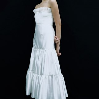 Love Philosophy bridal simple wedding dress - wrapped two-layer wrinkled dress